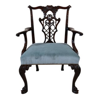 Antique English Georgian Mahogany Armchair For Sale