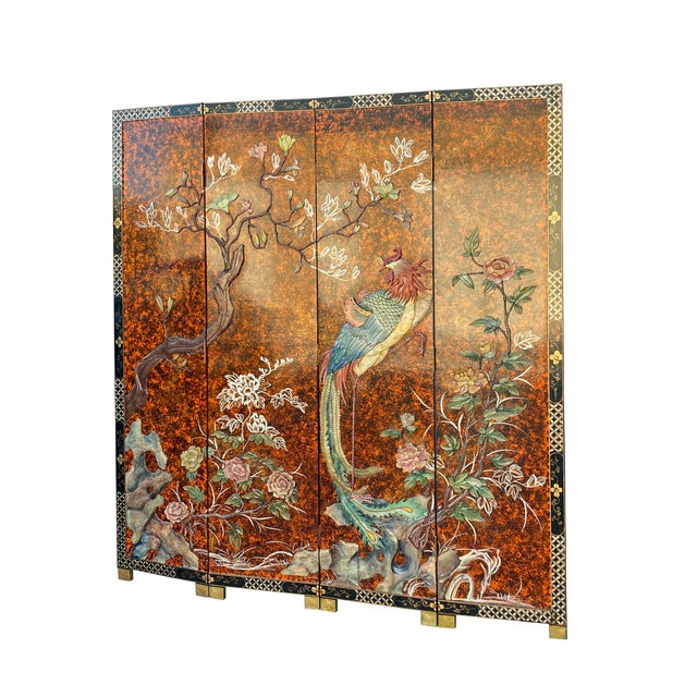 Jade Color Stone Inlaid Black Lacquer Wood Floor Screen Divider For Sale In San Francisco - Image 6 of 11