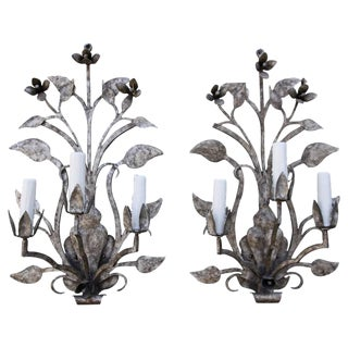 Pair of Three-Light Silvered Sconces For Sale