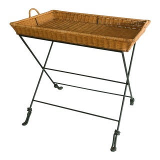 1960s Industrial Wicker Butler Tray Table For Sale