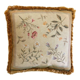 1960s English Traditional Goldenrod Wildflower Tapestry Pillow