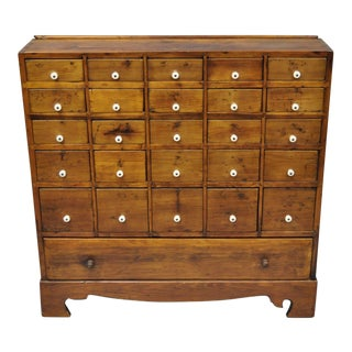 19th Century American Dovetailed Pine 26 Drawer Apothecary Cabinet For Sale