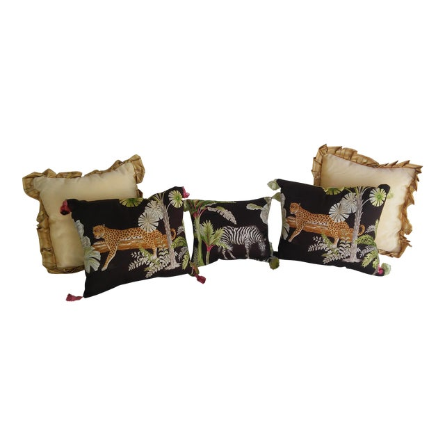 Luxe Leopards & Zebra With Taffeta Ruffled Pillows - Set of 5 - Image 1 of 9