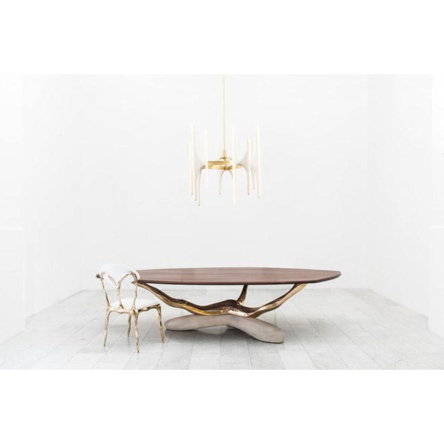 Markus Haase Markus Haase, Bronze, Walnut, and Limestone Dining Table, Usa, 2018 For Sale - Image 4 of 13