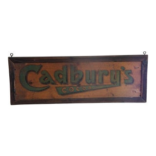 Victorian Cadbury's Chocolate Wooden Advertising Sign For Sale