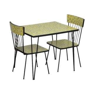 Mid-Century Modern Wrought Iron & Formica Childs Table and 2 Chair Kitchen Set For Sale