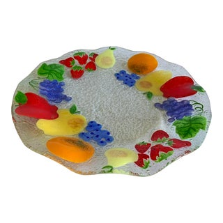 Vintage Anne C. Ross Hand Made Fused Glass Tray For Sale
