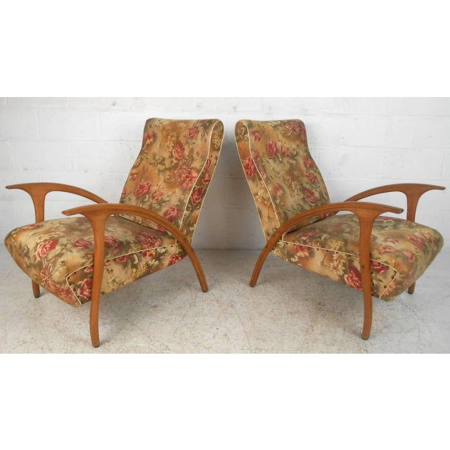 1950s Pair of Paolo Buffa Style Armchairs For Sale - Image 5 of 9