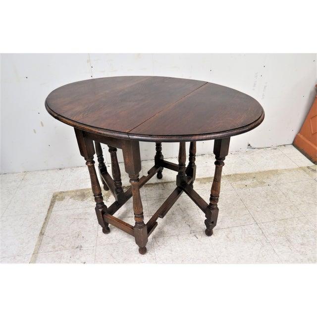 English Drop Leaf Gate Leg Tiger Oak Apartment Table For Sale - Image 10 of 10