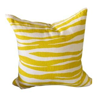Linen Pillow - Chartreuse Zebra For Sale