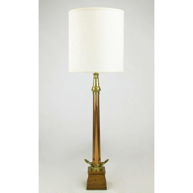 """W.D. Allen of Chicago, brass and copper fire hose nozzle dated, 12-06-07(1907) converted into a 53"""" tall table lamp...."""