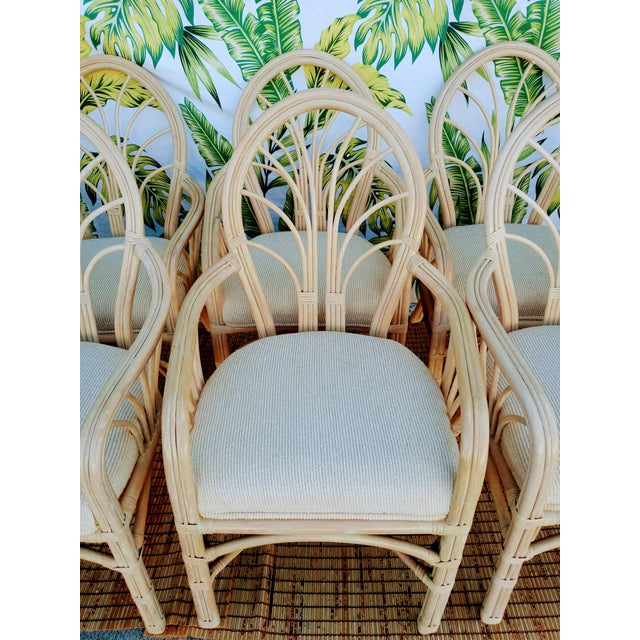 1980s Vintage McGuire Style Natural Coastal Rattan Dining Arm Chairs Set of 6 For Sale - Image 5 of 10