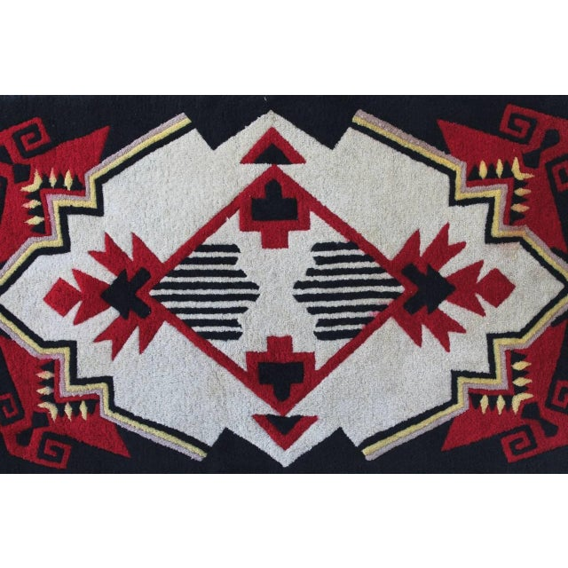 1930s Mounted Geometric Hand-Hooked Rug For Sale In Los Angeles - Image 6 of 7