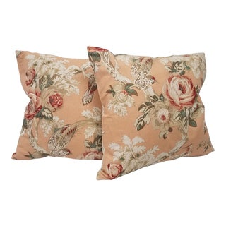 Peach Floral and Bird Pillows - A Pair For Sale