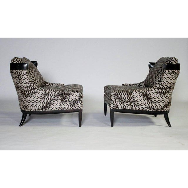 Pair of mid-century Hollywood Regency slipper chairs by Erwin Lambeth newly upholstered in Kravet black and white...