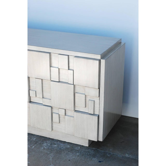 Lane Furniture Brutalist 9-Drawer Dresser Credenza by Lane in a Custom White Finish For Sale - Image 4 of 6
