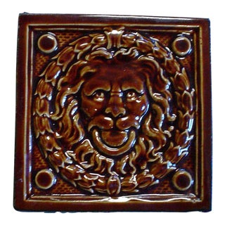 Figural Brown Lion Tile For Sale