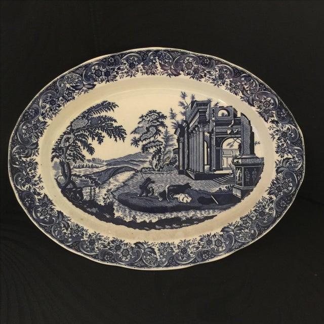 Chinoiserie Blue & White Serving Platter - Image 2 of 5