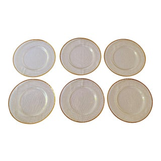 Hammered Glass Gold Rimmed Charger Plates - Set of 6 For Sale