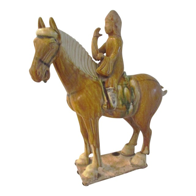 Vintage Large Pottery Tang Design Stallion Figurine For Sale