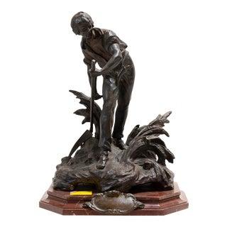 1900s Figurative Art Nouveau Bronze Sculpture on Marble Base by Louis Auguste Moreau For Sale