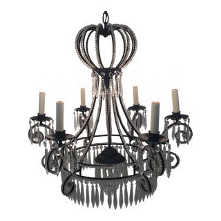 Vintage French Iron and Crystal Chandelier For Sale