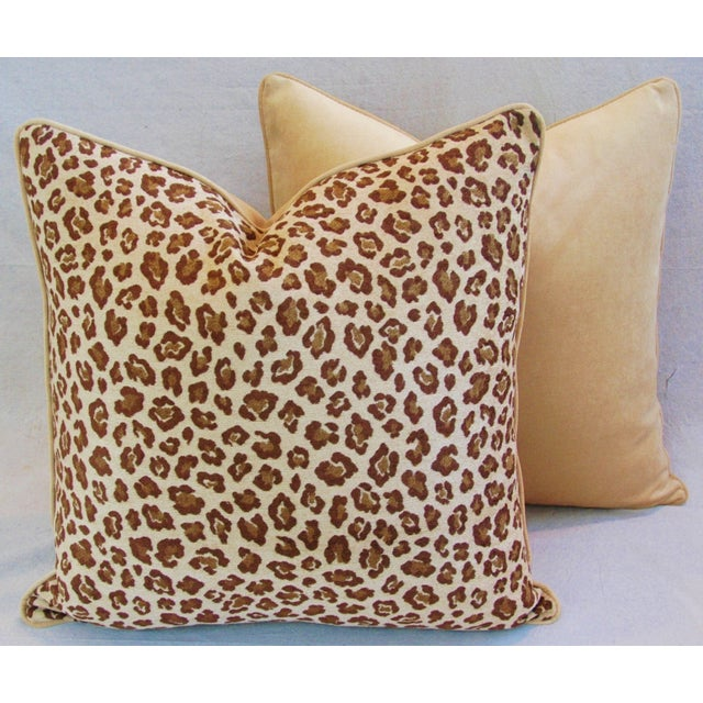 "Fabric Leopard Safari Velvet Feather/Down Pillows 24"" Square - Pair For Sale - Image 7 of 9"
