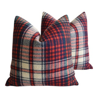 "Scottish Tartan Plaid Wool Feather/Down Pillows 22"" Square - Pair For Sale"