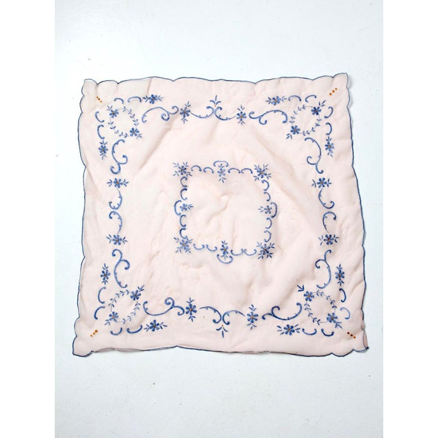 Textile Mid 20th Century Vintage Pink Table Cloth With Embroidery For Sale - Image 7 of 7