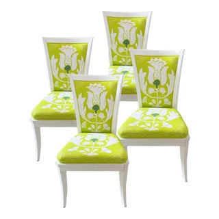 Dana Gibson Dining Chairs in Chartreuse - Set of 4 For Sale