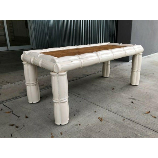 Mid century Italian blanc de chine terracotta faux bamboo table sold as found in vintage condition .