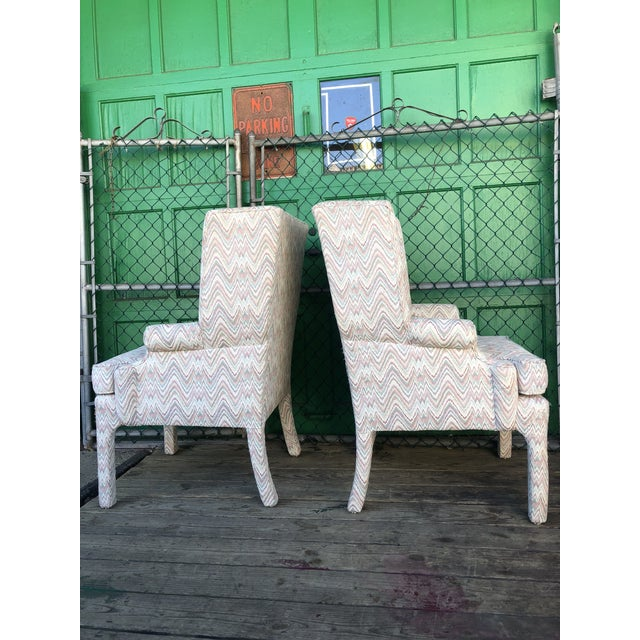 Mid Century High Back Wingback Chair With Vintage Upholstery- A Pair For Sale In New York - Image 6 of 12