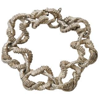 Vintage Textural Italian Marked Sterling Silver Link Bracelet For Sale