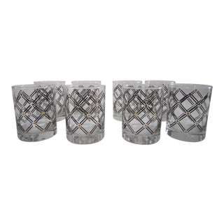 Vintage 1960s Black Cross Hatch Design With Gold Accents Lowball Glasses - Set of 8 For Sale