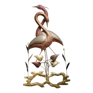 Blue Heron Metal Wall Sculpture Style of Jere For Sale