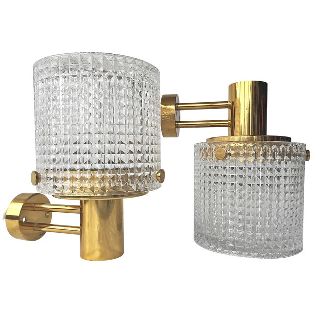 Up or Down Mounted Wall Lights Orrefors Attributed - a Pair For Sale