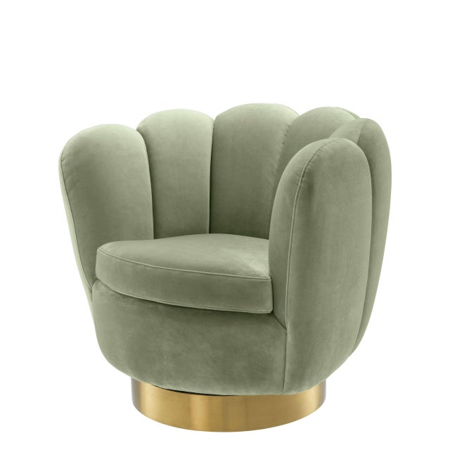 Art Deco Eichholtz Mirage Green Scalloped Swivel Chair For Sale - Image 3 of 3