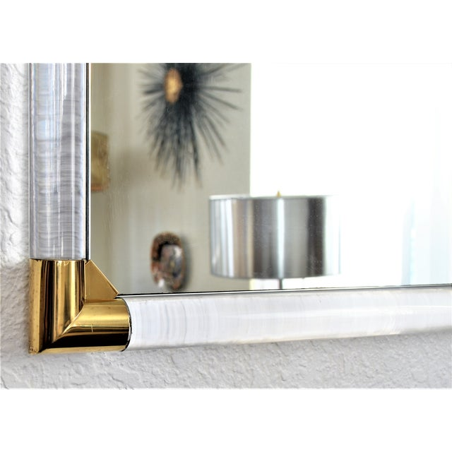Mid-Century Modern Lucite & Brass Wall Mirror Charles Hollis Jones Style - Image 6 of 11