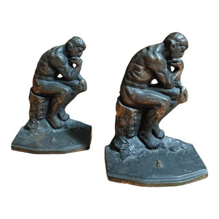 Antique 1927 Bronzed Cast Iron the Thinker Bookends - a Pair For Sale