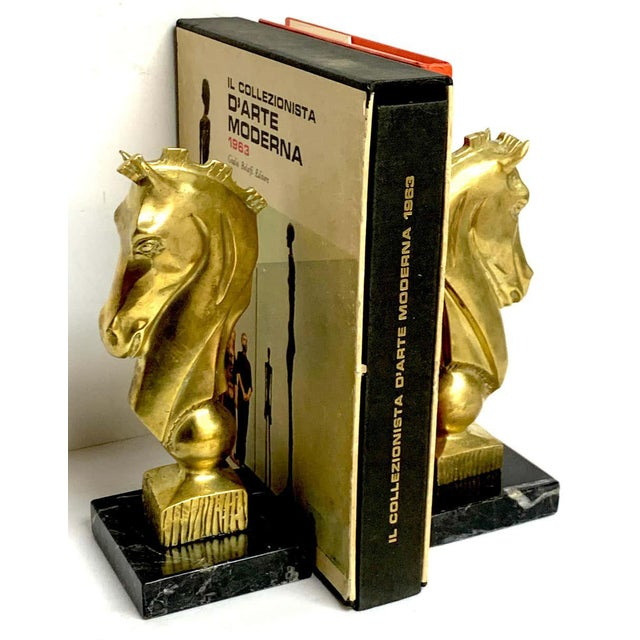 Mid-Century Modern Midcentury Bronze and Marble Horse Motif Bookends - a Pair For Sale - Image 3 of 10
