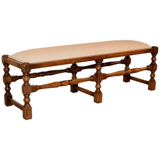 19th Century English Upholstered Low Bench For Sale