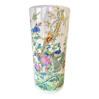 Vintage Chinoiserie Peacock Umbrella Stand For Sale