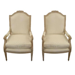 Pair 19th Century Louis XVI Painted Arm Chairs For Sale