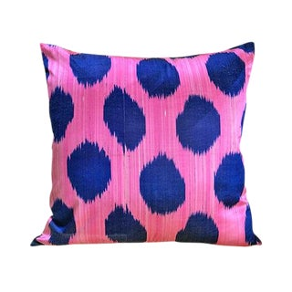 Kim Salmela Modern Turkish Silk Velvet Ikat Lumbar Pillow For Sale
