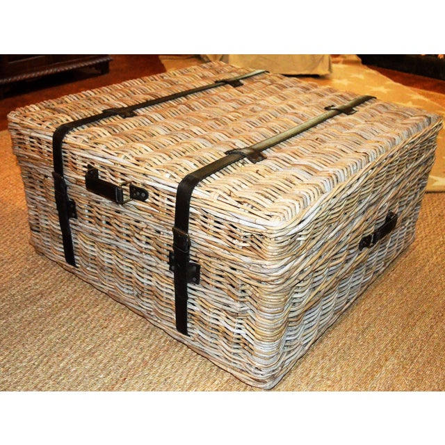 Boho Chic Woven Rattan Coffee Table Trunk For Sale - Image 13 of 13