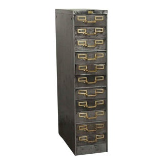 Industrial Steel 11 Drawer Filing Cabinet For Sale