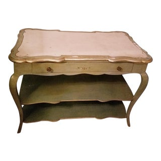 Vintage White Scallop Marble Top Painted Console