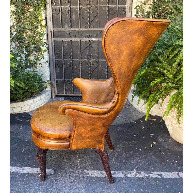 Traditional Rose Tarlow Melrose House Leather Wingback Chair For Sale - Image 3 of 5
