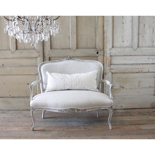 Antique French Louis XV Carved Roses Open Arm Settee - Image 2 of 6