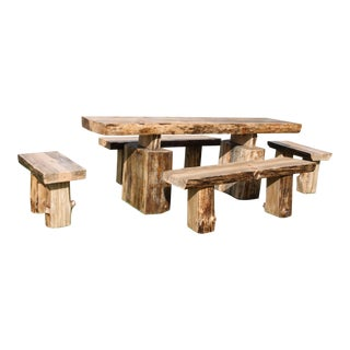 Single Tree Slab Dining Table & Benches